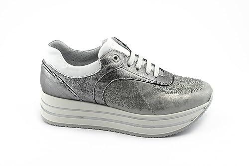IGI&Co 1155600 Grises Zapatos de ACERO de Las Mujeres Zapatillas de Deporte de La Plataforma Cordones
