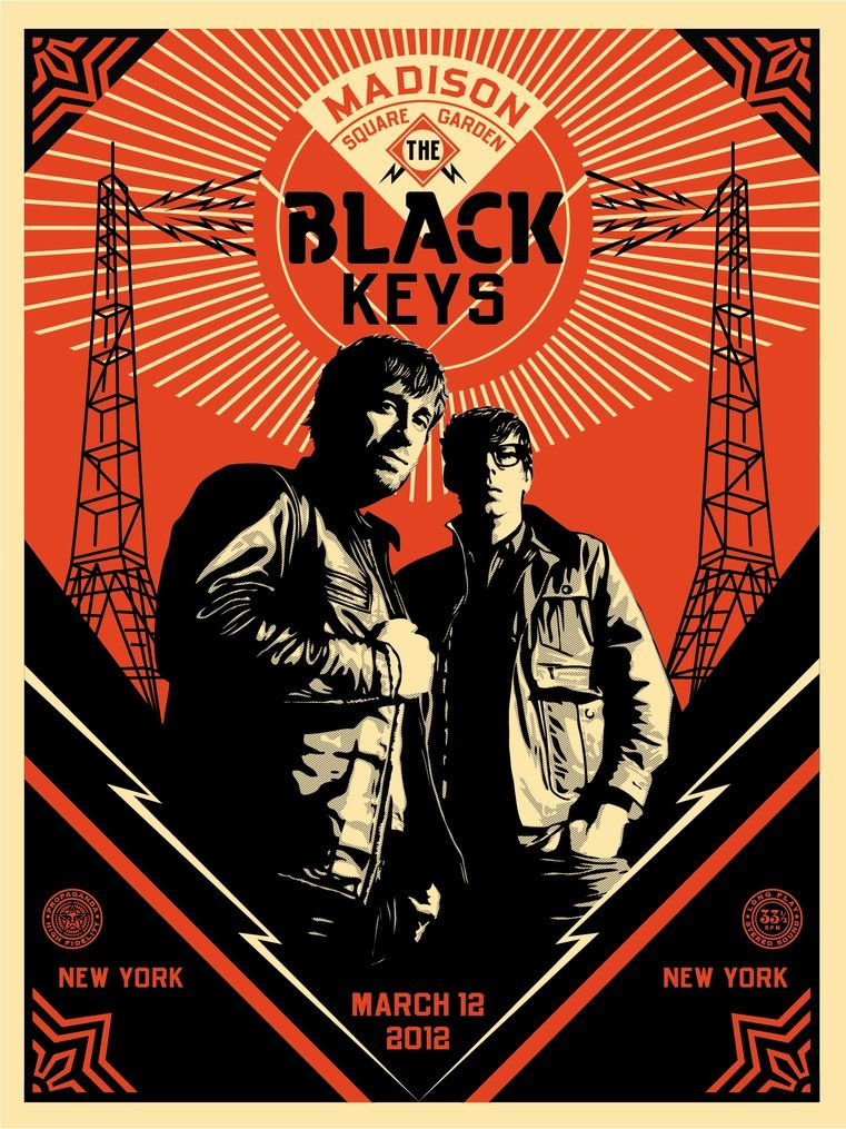 Silk Print Poster Infinite Arts The Black Keys 9EEED8 14inch x 19inch//35cm x 47cm Silk Printing