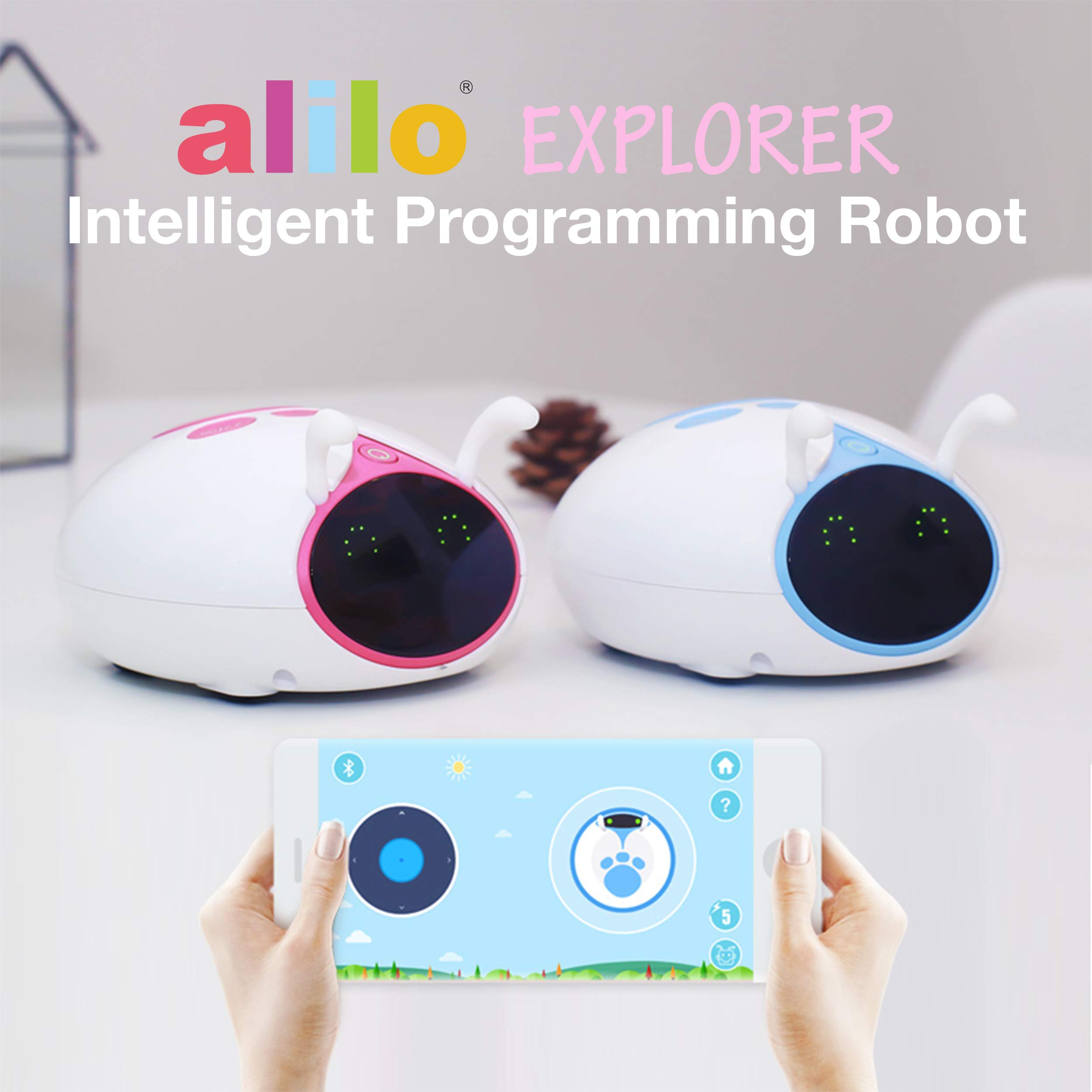 Alilo Blocky Scratch Drag and Drop Programming Language Visual Swift Coding Editor Robot STEM Learning Education Kids Toy Interactive Intelligent Robotic Play with 6 Modes, Battery, M7 Explorer (Red) by alilo (Image #2)
