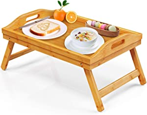FURNINXS Bamboo Bed Tray for Eating, Breakfast in Bed Tray with Folding Legs and Handles, Serving Bed Tray Table for Bedroom, Chair, Sofa, Hospital