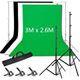 Voilamart Adjustable 3x2.6m Photography Backdrop Stand Aluminum Alloy Professional Photo Background Support System Kit with 1.8Mx2.8M/6ftx9ft Backdrop (White, Black, Green) + 3x Muslin Clips