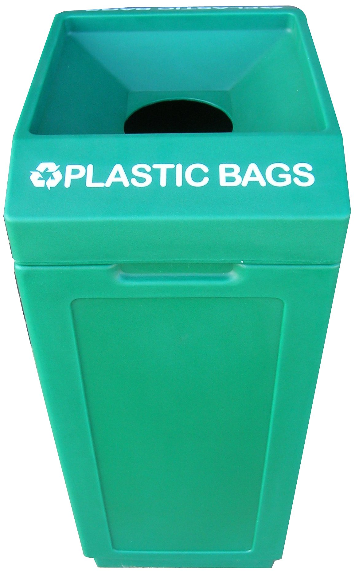 Forte Products 8002064 Open Top Plastic Recycle Bin with Plastic Bags Graphic, 14.5'' L x 21.5'' W x 36'' H, Green