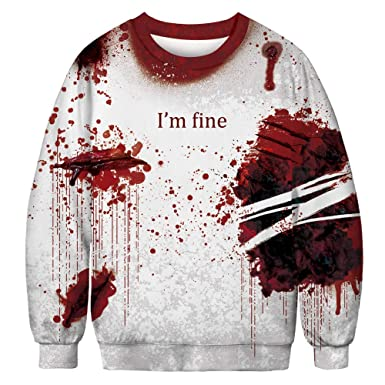 BETTERUU Women Casual Skeleton 3D Print Long Sleeve Bloodstain Sweatshirt Pullover Top