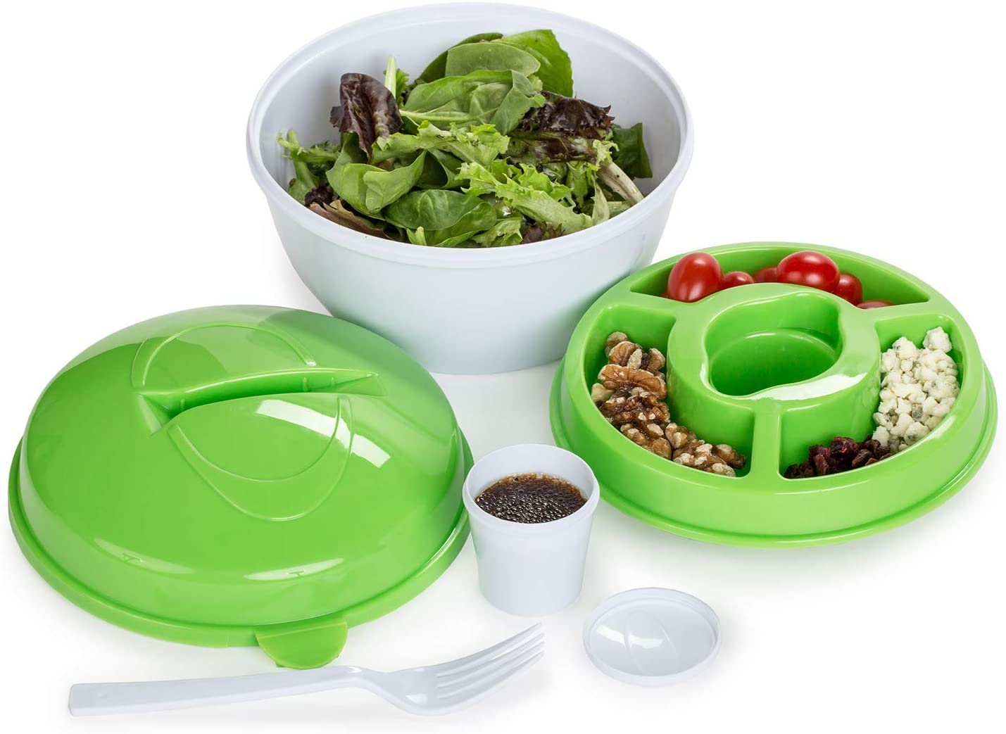 All in One Salad To-Go Container - Portable & Airtight Canister with Dressing Compartment, Multiple Top Storage & Attachable Fork