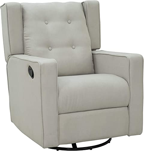 HOMCOM Polyester Linen Fabric Swivel Gliding Recliner Chair, Beige