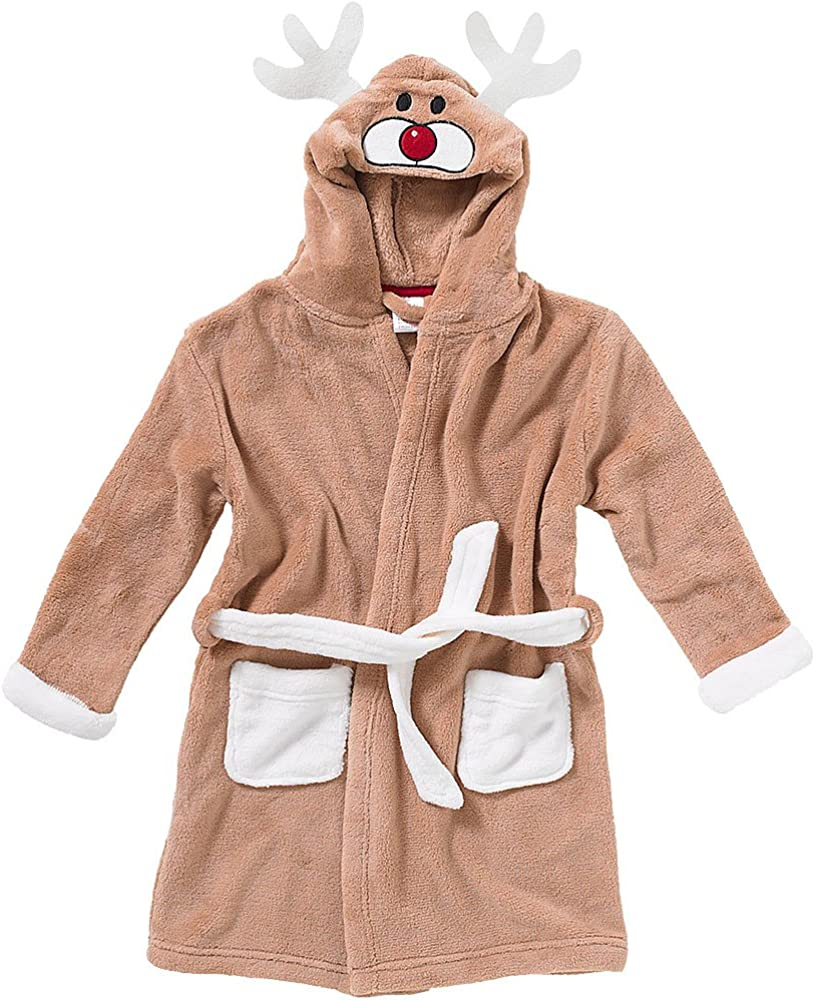 Animal Crazy Childs Boys Girls Panda Bath Robe Dressing Gown Supersoft Fleece