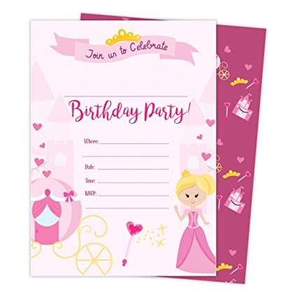 Amazon Com Princess 3 Happy Birthday Invitations Invite Cards 25