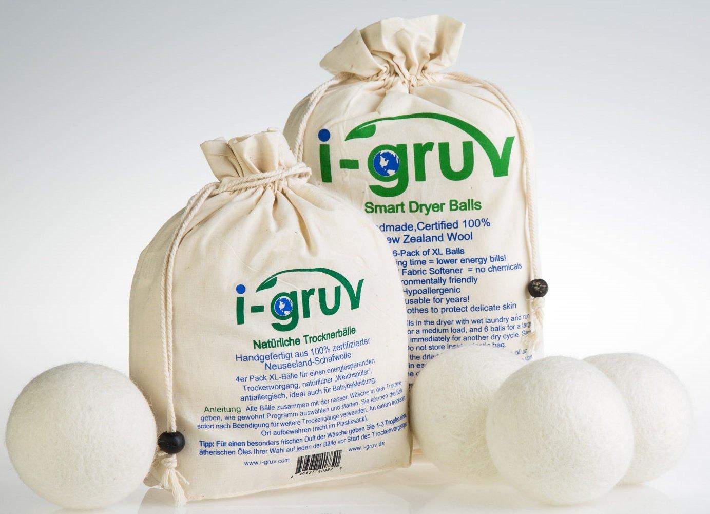 Bolas del secador para secadora de ropa de lana de I-Gruv, 4P Set, para suave daun cuidado, reduce el consumo de energía y es al mismo tiempo suavizante ...