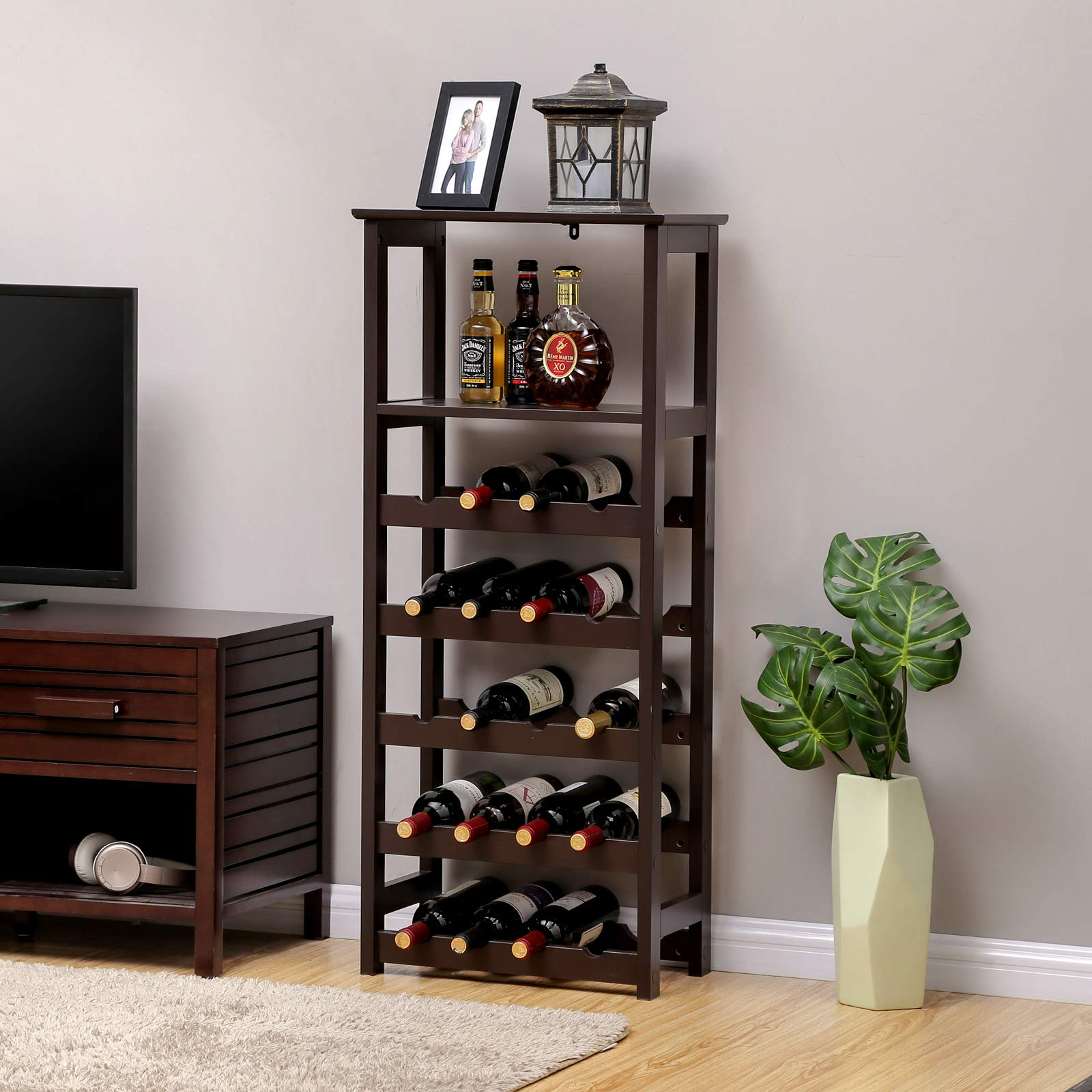 VASAGLE 20 Wooden Wine Rack, Free Standing Bottles Display Storage Shelf, with 2 Slatted Shelves,18.4''L × 10.4''W × 42.9''H, Espresso ULWR03BR by VASAGLE (Image #2)