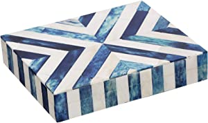 Chevron Pattern Blue White Jewelry Organizer and Storage Box for Women Girls Bedroom Office, Closet – Christmas Gifts