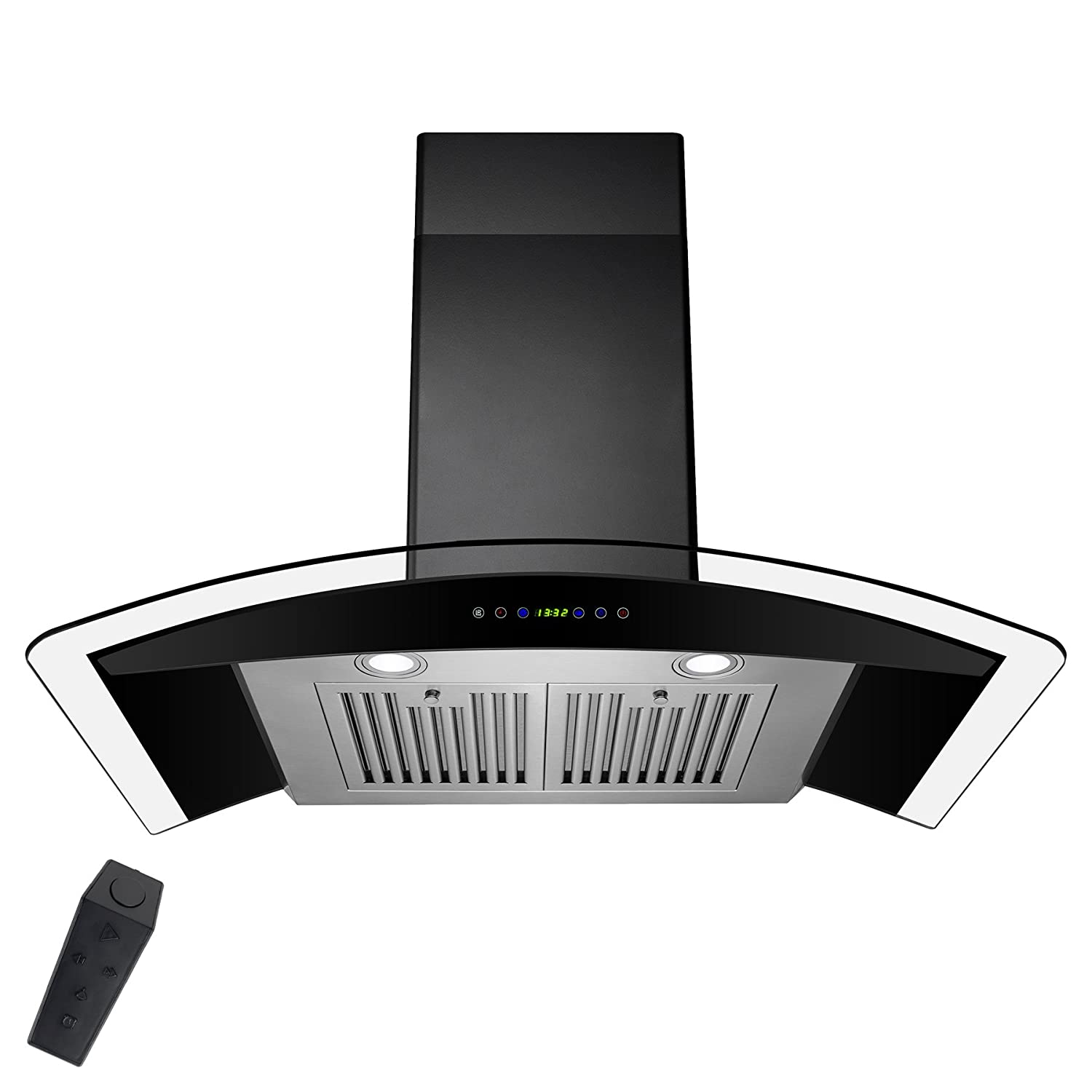 AKDY 36 Stainless Steel Tempered Glass Wall Mount Range Hood With Remote Control Touch Button Control AK-RH0318
