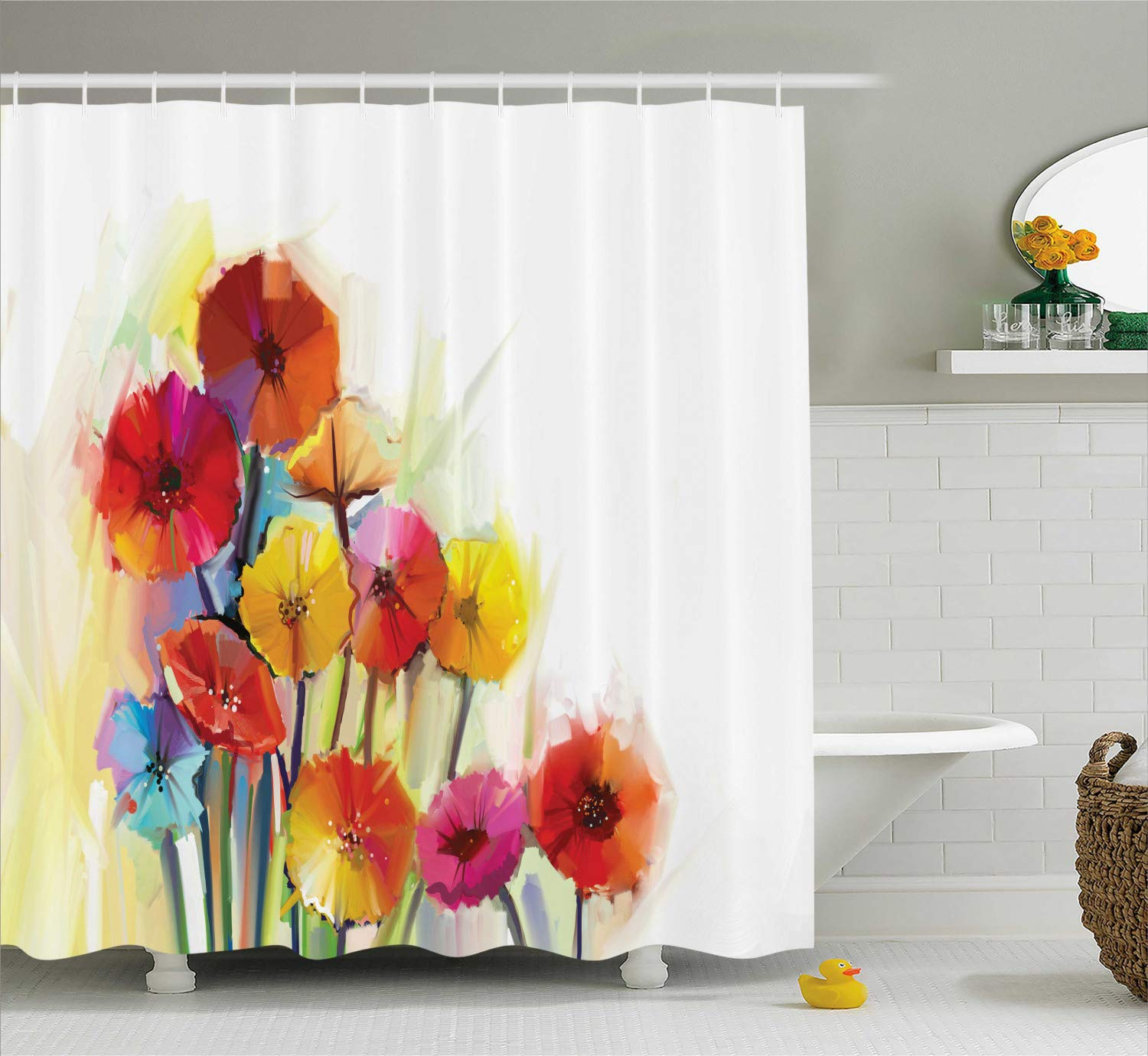 Ambesonne Flower Shower Curtain, Gerbera Bouquets Romantic Floral Arrangement Blossom Side of The Nature, Cloth Fabric Bathroom Decor Set with Hooks, 75'' Long, Orange Yellow