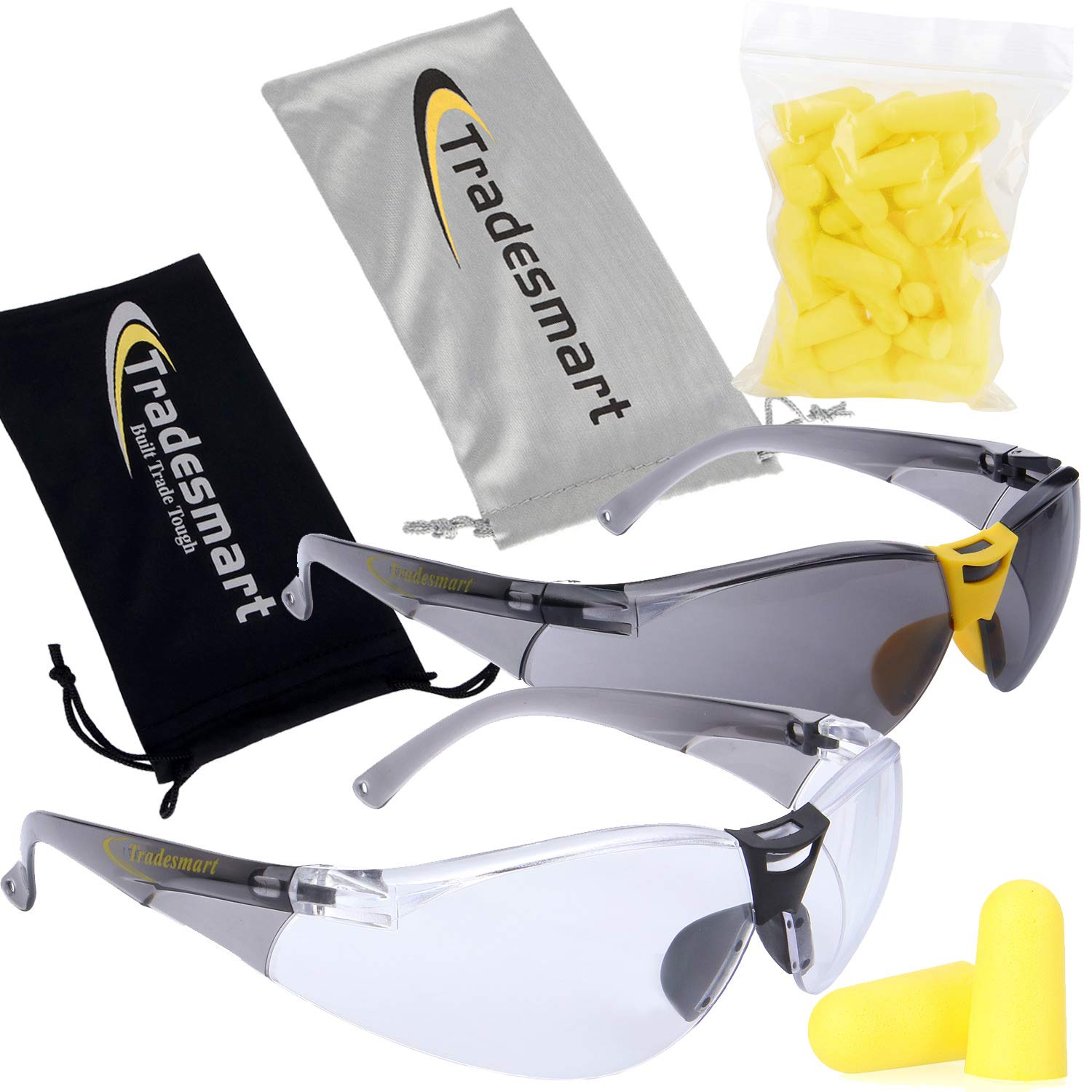 TRADESMART 2X Anti Fog Safety Glasses with 25PK NRR33 Earplugs - Clear & Tinted Protective Eyewear - UV400, Scratch Resistant & Antifog by TRADESMART BUILT TRADE TOUGH