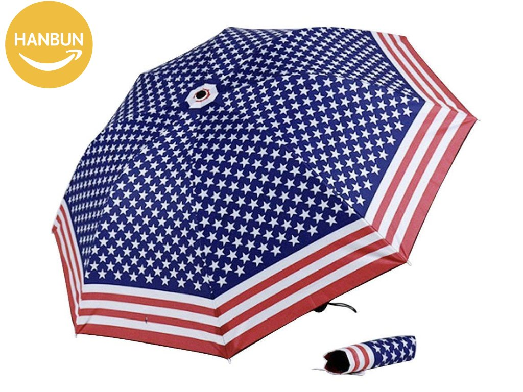 Amazon.com: USA flag Umbrella, Rain Umbrella Windproof American Flag Star Point Elegant Unique Foldable Compact Travel Umbrella HU009 (BIG): Garden & ...