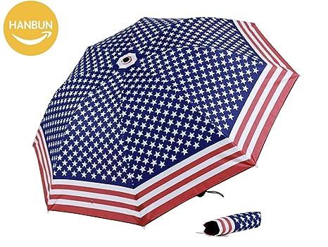 USA flag Umbrella, Rain Umbrella Windproof American Flag Star Point Elegant Unique Foldable Compact Travel