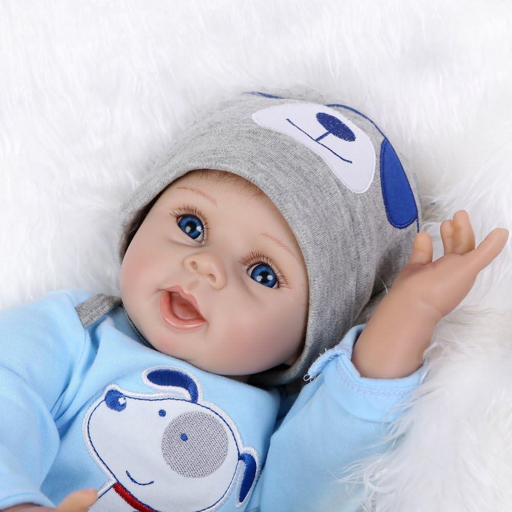 Decdeal 22Pulgadas Muñeco Reborn Bebé Cuerpo Silicona Boneca con Ropa Azul Ojos Realista Regalos lindos