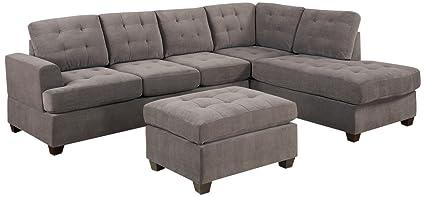 Bobkona Austin 3 Piece Reversible Sectional With Ottoman Sofa Set, Charcoal