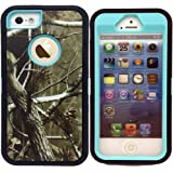 iphone SE Case,KeckoDefender Series Heavy Duty Realtree Camo Shockproof Dirtproof Military Grade Drop Resistant Hybrid Full Body Protective Case w/ Built-in Screen Protector for iphone 5s/5