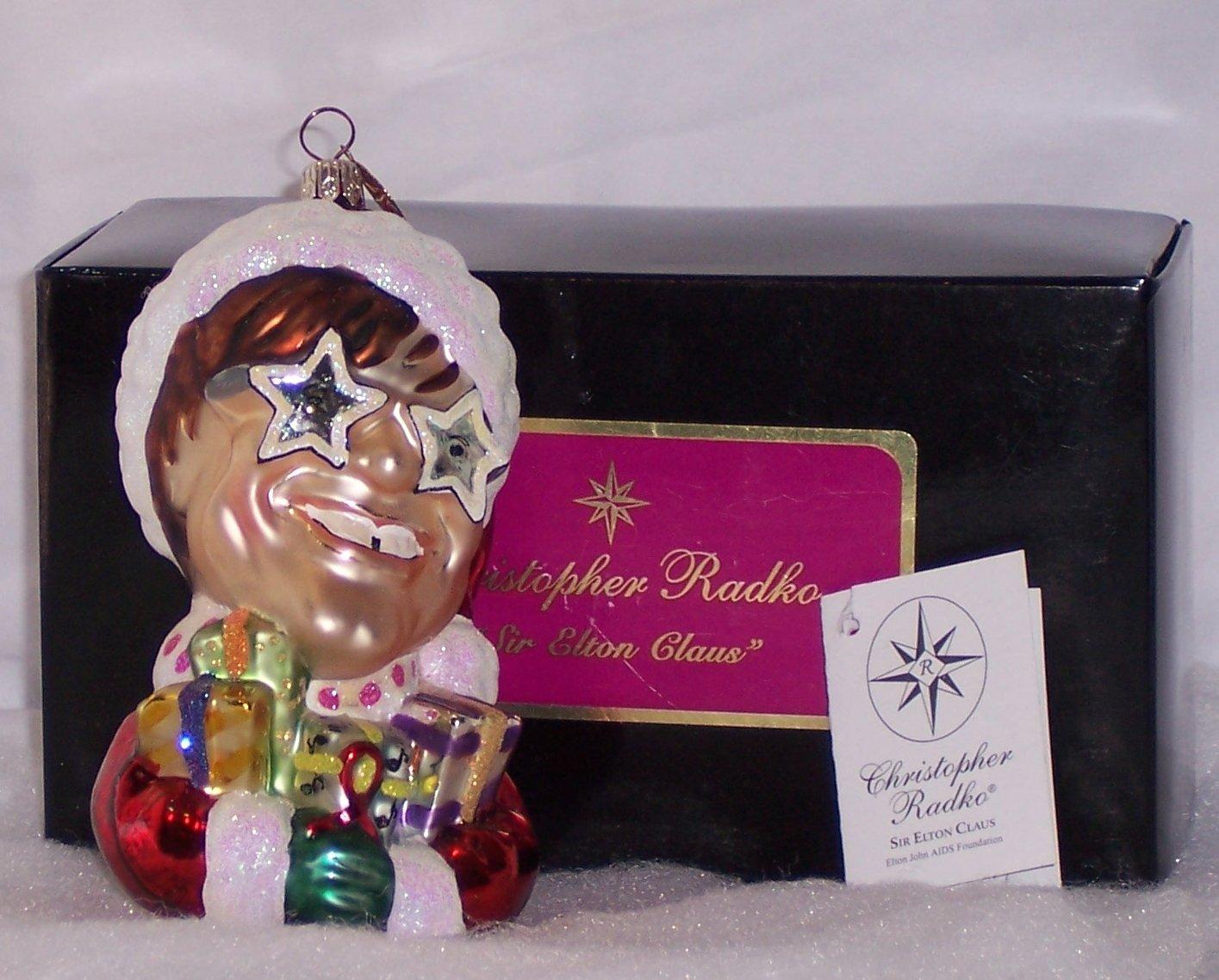 Elton John Christmas Ornament.Christopher Radko 2000 Sir Elton Claus Elton John Aids