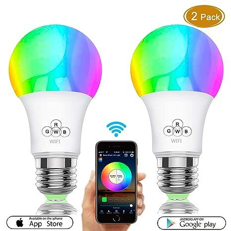 Bombilla LED inteligente, bombillas WiFi 40W Equivalente, regulable Color cambiante RGBW con control remoto APP, E27 Wake Up Lights Bombilla LED ...