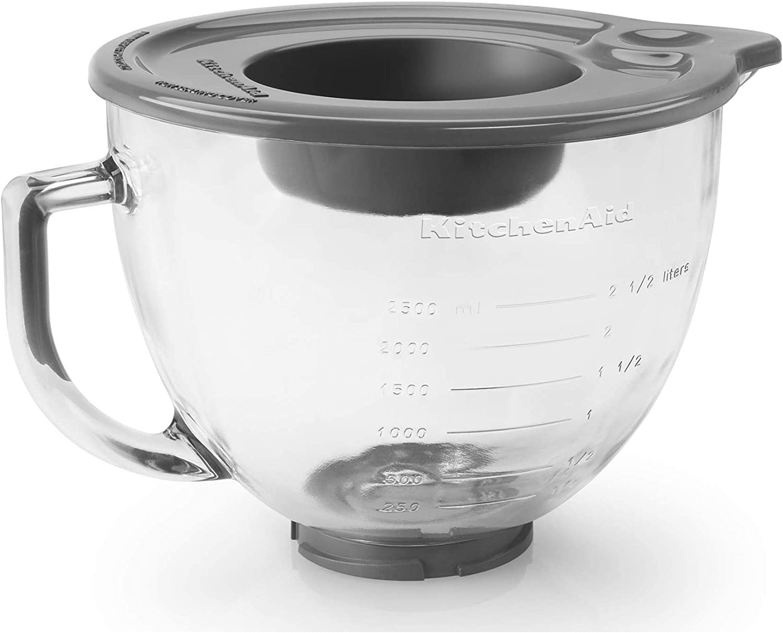 Amazon Com Kitchenaid 5 Qt Tilt Head Glass Bowl With Measurement Markings Lid Electric Mixer Replacement Parts Kitchen Dining