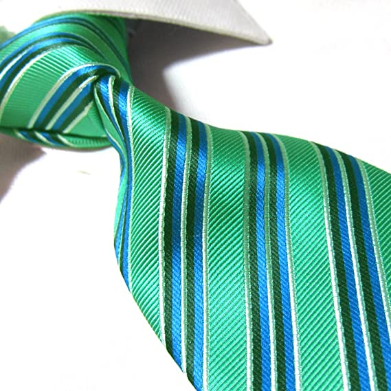Towergem Extra Larga Corbata de Poliéster XL Azul/Verde Rayas ...