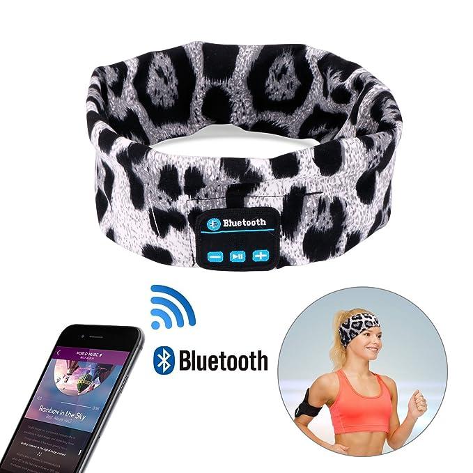 Wu Minglu Wireless Bluetooth Headband, Wireless Sports Headband Sleep Headphones Headset Music Running Headband With Mic Built In Stereo Speakers For Outdoor Sports Yoga, Leopard  White by Wu Minglu