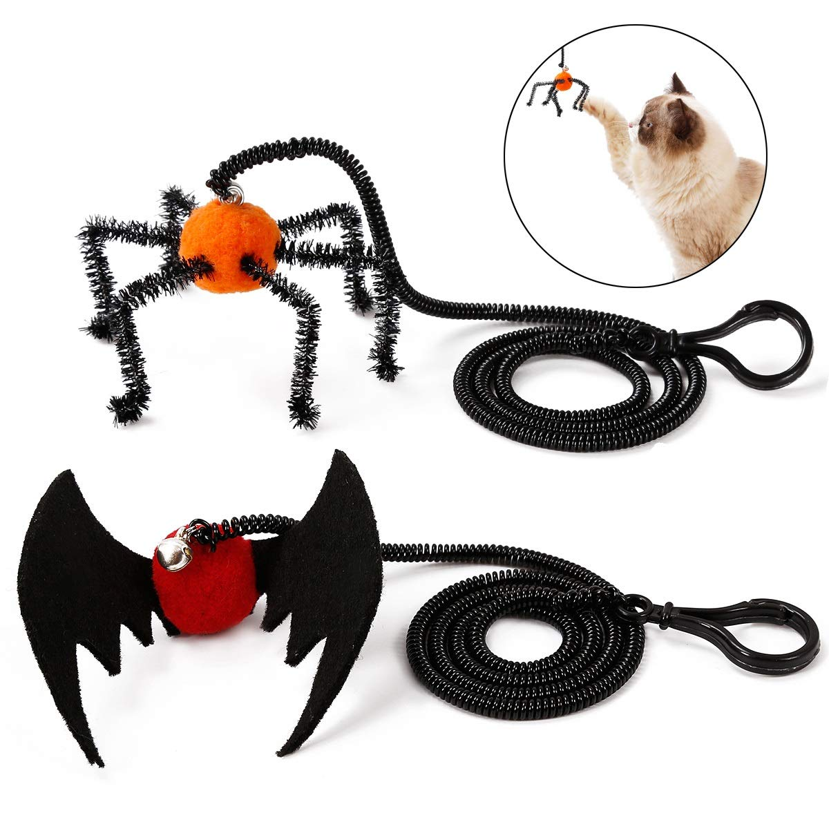 Pack of 2 Dora Bridal 2 Pcs Cat Toy Halloween Bat Spider Design Toy with Elastic String Plastic Finger Hook and Bell Interactive Cat Toy for Kitten and Puppy