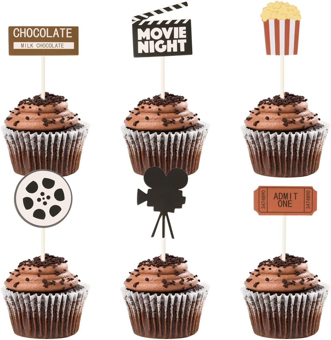 Amazon Com Donoter 48 Pcs Movie Night Cupcake Toppers For Hollywood Movie Theater Themed Birthday Party Decorations Kitchen Dining