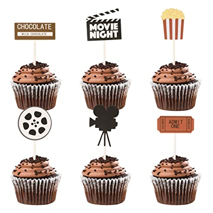 Donoter 48 Pcs Movie Night Cupcake Toppers For Hollywood Movie Theater Themed Birthday Party Decorations Amazon In Home Kitchen