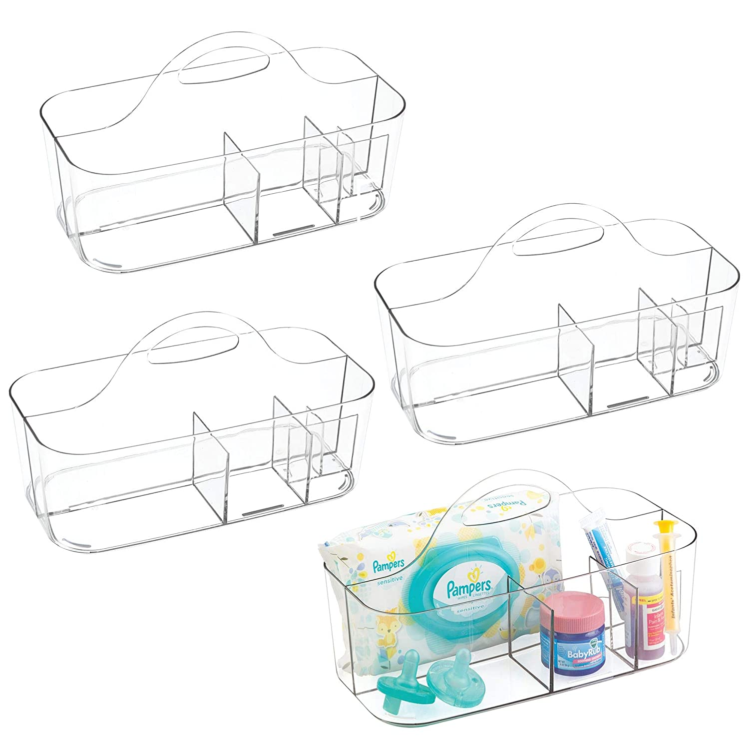 mDesign Plastic Portable Nursery Storage Organizer Caddy Tote - Divided Basket Bin with Handle - Holds Bottles, Spoons, Bibs, Pacifiers, Diapers, Wipes, Baby Lotion - BPA Free - Large, 4 Pack - Clear
