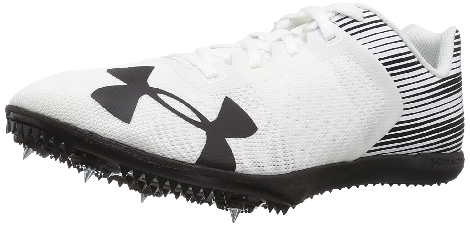 Under Armour Men's Kick Distance Spike Sneaker, White/Black/Black B071Z8ZPRL 10.5 M US|White (102)/Black