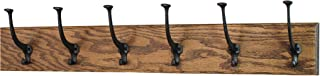 product image for PegandRail Solid Oak Wall Mounted Coat Rack - Large Black Mission Hooks - Made in The USA (Walnut, 30.5 x 4.5 X-Wide - 6 Hooks)
