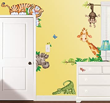 Amazoncom In The Jungle Wildlife Animal Stickers Wall Decals - Somewhat about wall stickers