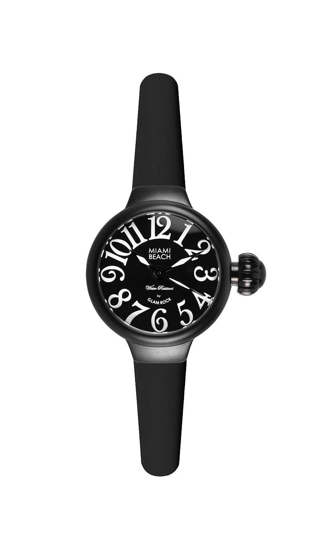 Glam Rock Damen-Armbanduhr Art Deco Collection Analog Silikon schwarz 0.96.2942