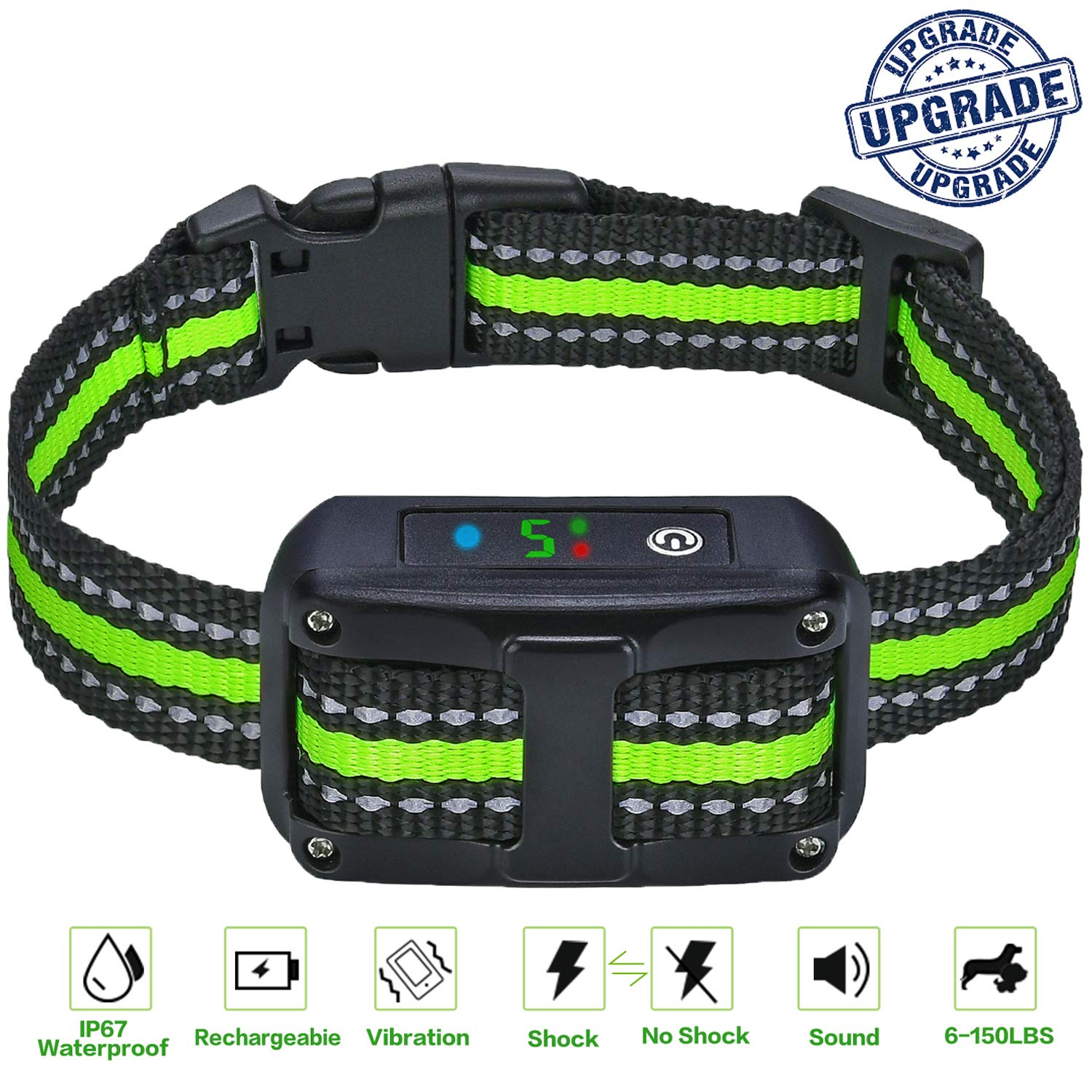 [Newest 2019] Dog Bark Control Collar, Dual Anti-Barking Modes, No Barking Control Dog Shock Collar, Suitable for Small and Medium Dogs
