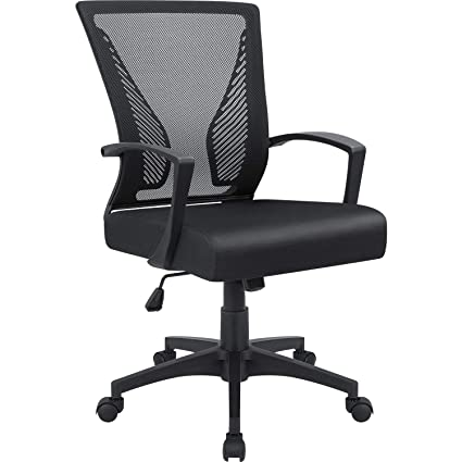 Tremendous Furmax Office Chair Mid Back Swivel Lumbar Support Desk Chair Computer Ergonomic Mesh Chair With Armrest Black Creativecarmelina Interior Chair Design Creativecarmelinacom