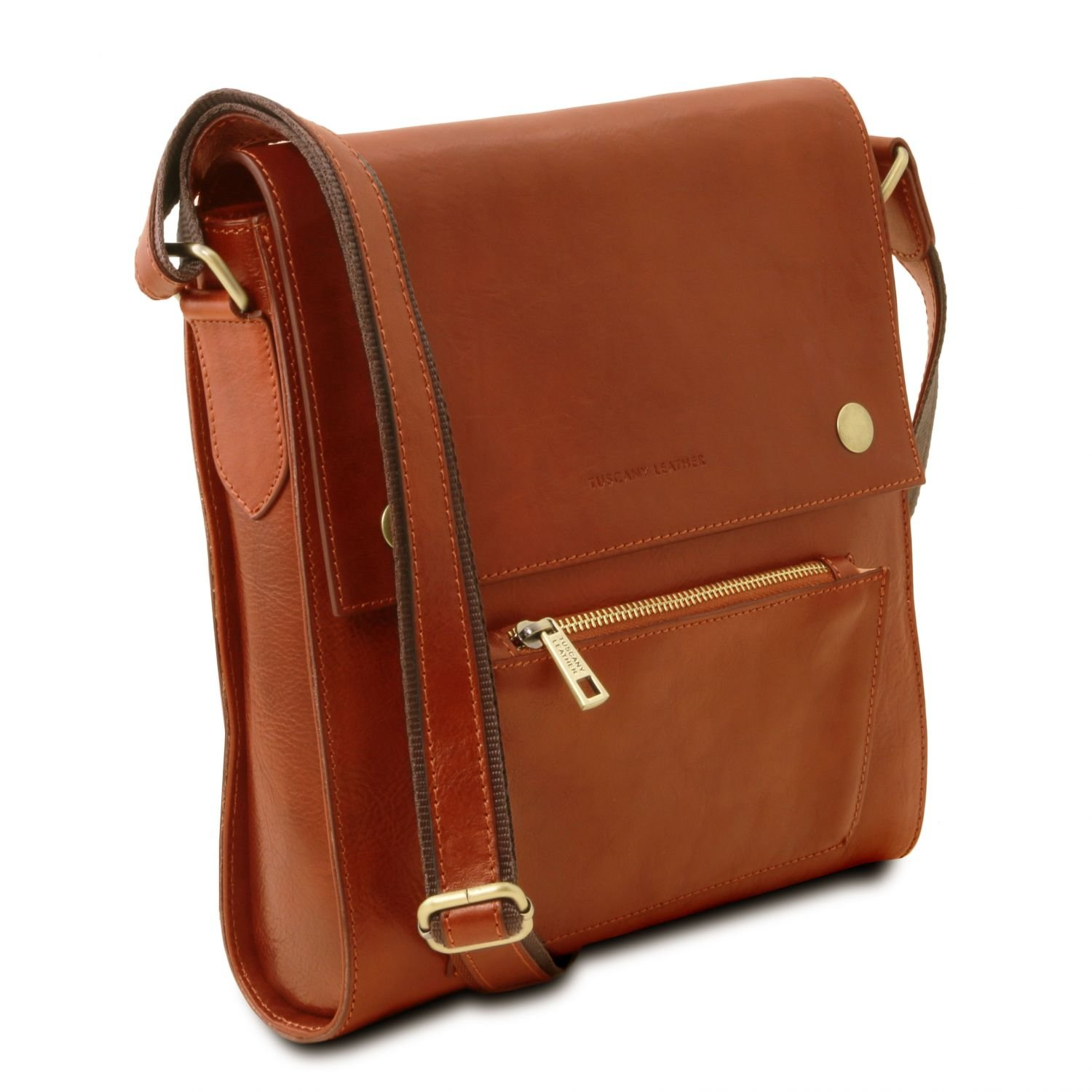 Tuscany Leather Oliver Leather crossbody bag for men with front pocket Honey by Tuscany Leather (Image #3)