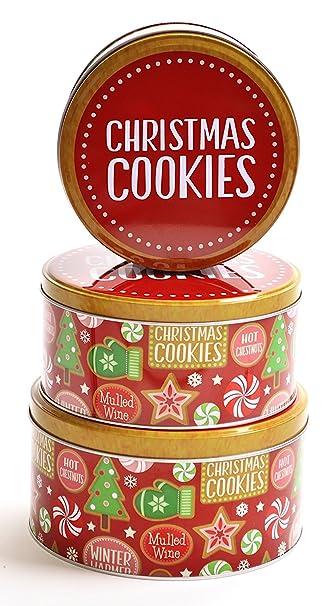 Amazon.com - Christmas Nested Cookie Tins, Round Set of 3 ...