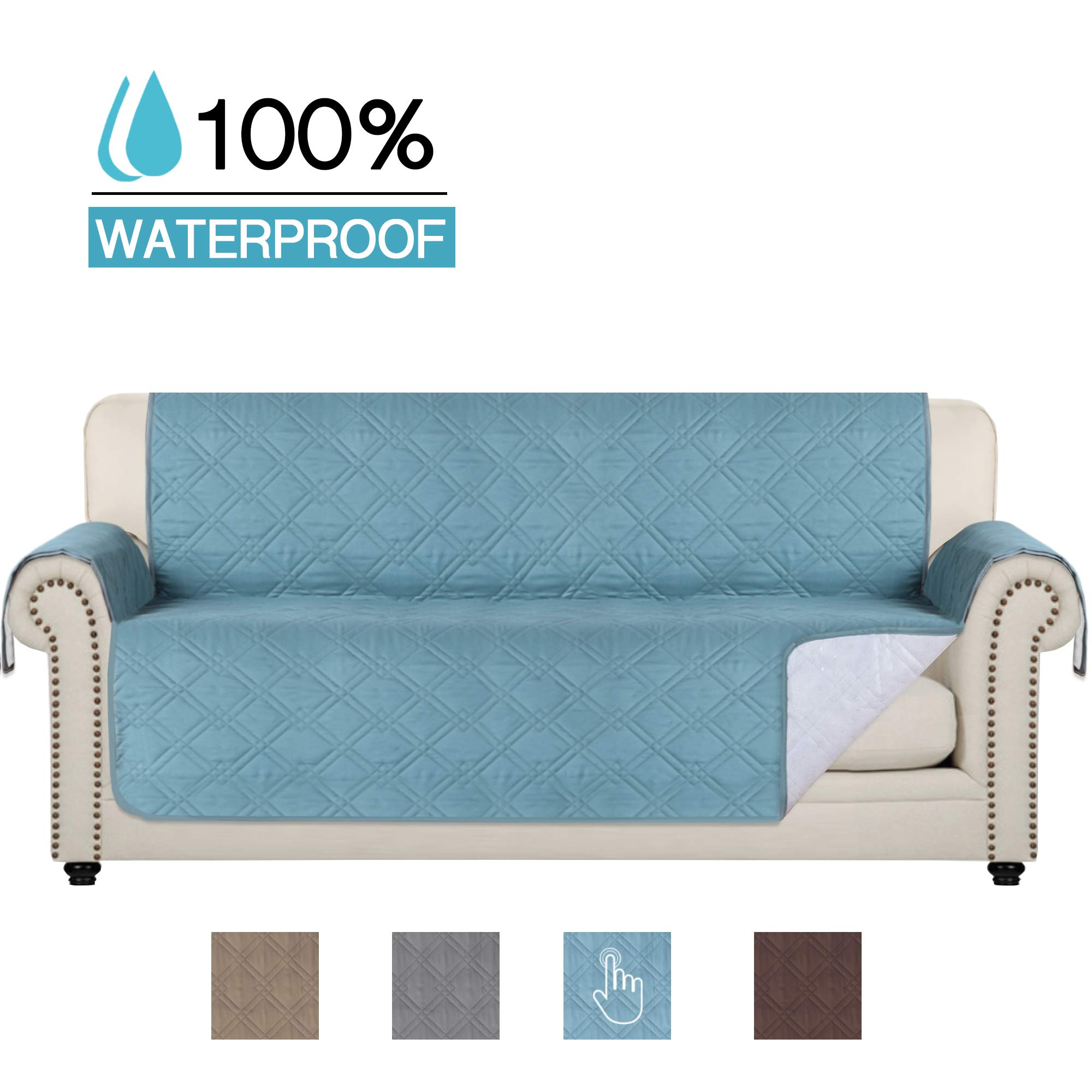 Flamingo P Deluxe Reversible Quilted Furniture Protector Water-Resistant Pets Slipcover Machine Washable(Oversized Sofa: Stone Blue) - 86'' X 132''