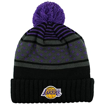 Mitchell   Ness los Angeles Lakers Highlands 2.0 NBA Knit Hat W pom ... 6e003bc5c6bf