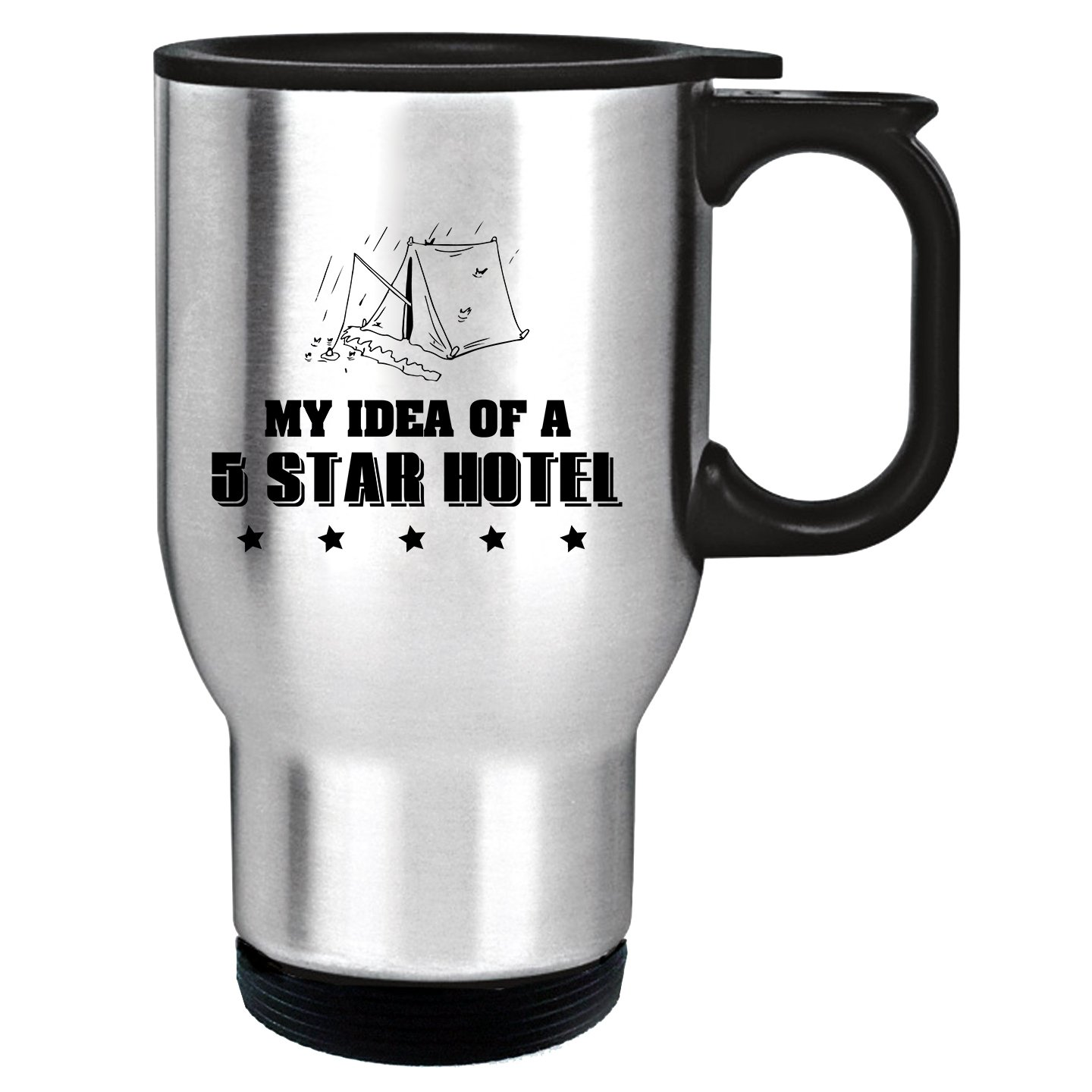 Style In Print ''My Idea Of A 5 Star Hotel'' Funny Relax 14oz Stainless Steel Travel Mug Silver