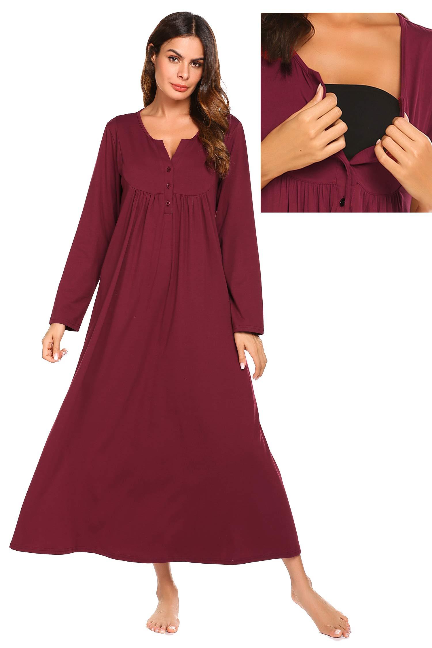 Ekouaer Maternity Nursing Dress,Breastfeeding Nightgown Sleepwear (Wine Red, XX-Large)