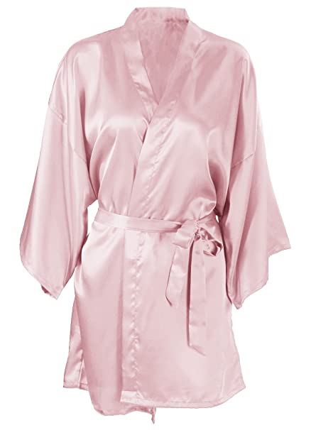 a7244ecd9a Image Unavailable. Image not available for. Color  Women s Kimono Satin  Wedding Robe Short Dressing Gown ...
