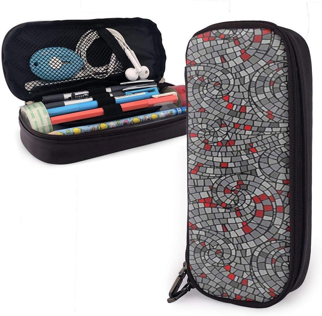Estuche de lápices de estilo mosaico moderno de gran capacidad soporte de marcador de bolígrafo caja de cuero organizador de papelería de almacenamiento grande con cremallera