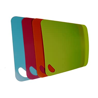 (4 pack) Large Flexible Plastic Cutting Boards Set with Handle - Mat board for use with kitchen knife - Mats are dishwasher safe on top rack