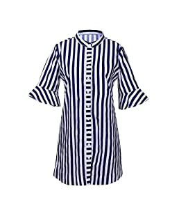 Xavigio_Women Dresses Women's Striped Half Sleeve Button Shirt Dress Casual Loose Blouse Party Dress Blue