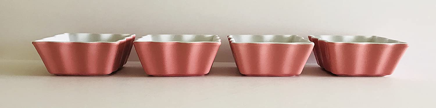 Peonies /& Daisies On White Decorate This Spring Ramekins Nut Bowls Oven Safe Porcelain Square With Scalloped Edges Snacks 4.5 inches Square x 2 inches Made In China Rose Pink Outside Baking