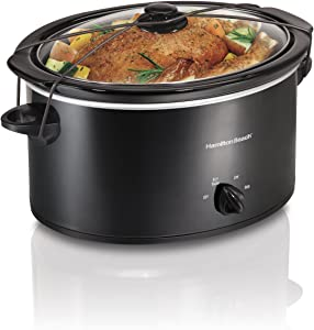 Hamilton Beach Portable 5-Quart Slow Cooker With Lid Latch Strap for Easy Transport, Dishwasher-Safe Crock, Black (33256)