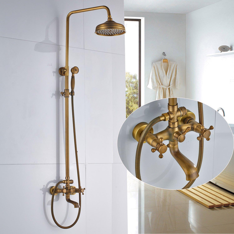 Rozin Wall Mounted Bathroom Rainfall Shower Set Tub Mixer Tap with Hand Sprayer Antique Brass